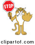 Big Cat Vector Clipart of a Bobcat Holding a Stop Sign by Toons4Biz