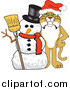Big Cat Vector Clipart of a Bobcat with a Christmas Snowman by Toons4Biz