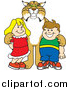 Big Cat Vector Clipart of a Bobcat with Students by Toons4Biz