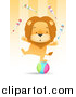 Big Cat Vector Clipart of a Circus Lion Juggling Pins and Balancing One Legged on a Ball by Qiun