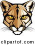 Big Cat Vector Clipart of a Cougar Face with Yellow Eyes by Chromaco