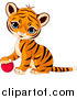 Big Cat Vector Clipart of a Cute Baby Tiger Cub Resting His Paw on a Toy Ball by Pushkin