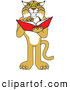 Big Cat Vector Clipart of a Friendly Bobcat Character Reading by Toons4Biz