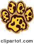 Big Cat Vector Clipart of a Leopard Pattern Paw Print by Chromaco
