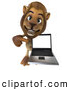 Big Cat Vector Clipart of a Lion Character Presenting a Laptop While Smiling by Julos