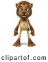 Big Cat Vector Clipart of a Lion Character Standing and Facing Front While Smiling by Julos