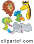 Big Cat Vector Clipart of a Lion, Parrot, Snake, Giraffe and Elephant by Visekart