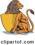Big Cat Vector Clipart of a Lion with a Golden Shield by Patrimonio