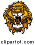 Big Cat Vector Clipart of a Mad Roaring Lion Head by Chromaco