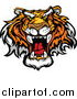 Big Cat Vector Clipart of a Roaring Tiger Mascot Face by Chromaco