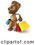 Big Cat Vector Clipart of a Smiling Lion Character Carrying Shopping Bags by Julos