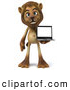 Big Cat Vector Clipart of a Smiling Lion Character Presenting a Laptop by Julos