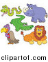 Big Cat Vector Clipart of a Snake, Alligator, Rhino, Vulture and Lion by Visekart