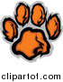 Big Cat Vector Clipart of a Tiger Paw Print in Orange and Gray by Chromaco