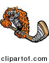 Big Cat Vector Clipart of a Tough Tiger Holding a Hockey Stick by Chromaco