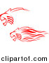 Big Cat Vector Clipart of Red Lions Charging by Vector Tradition SM