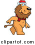 Cartoon Vector Clipart of a Lion Wearing Santa Hat by Cory Thoman