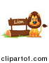 Cartoon Vector Clipart of a Mad Lion in a Zoo - Cartoon Style by Graphics RF