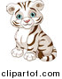 Vector Clipart of a Cute Cute Blue Eyed White Tiger Cub Sitting by Pushkin