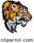 Vector Clipart of a Growling Tiger Prepared to Strike - Head Profile Version by Chromaco