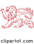 Vector Clipart of a Heraldic Lion Clawing Outwards with Paw - Red Outlined Version by Vector Tradition SM
