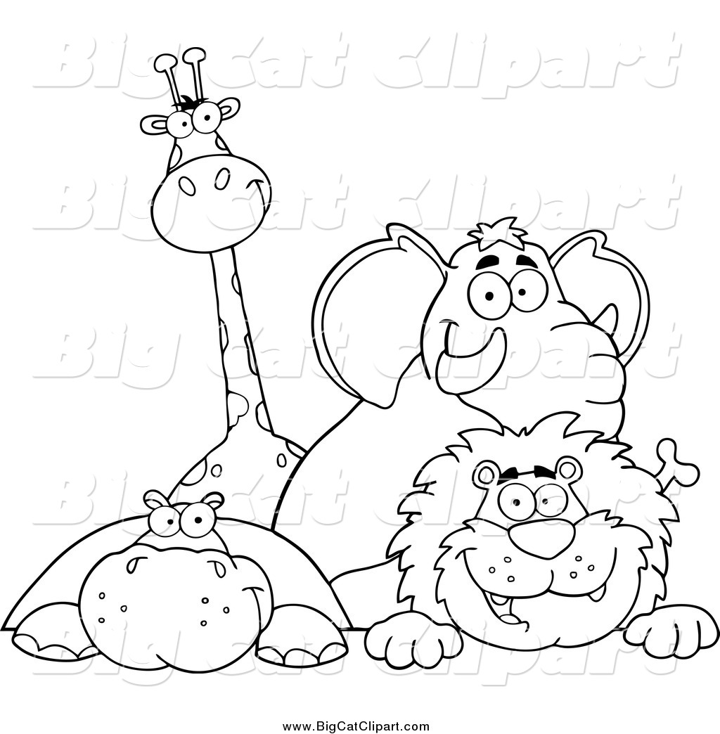 Big Cat Cartoon Vector Clipart Of A Black And White Giraffe Elephant Hippo Lion