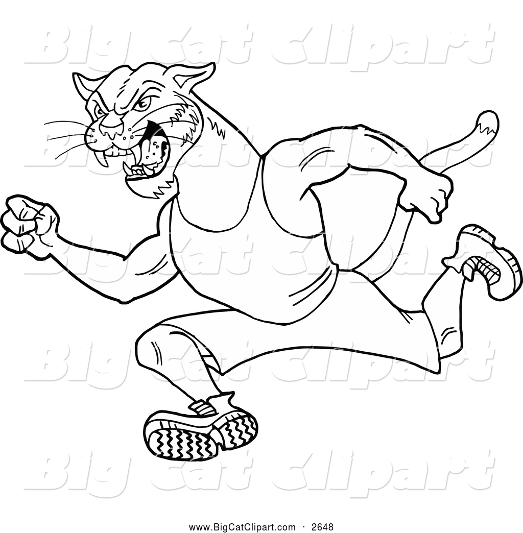 big cat cartoon vector clipart of a black and white running cougar by lafftoon