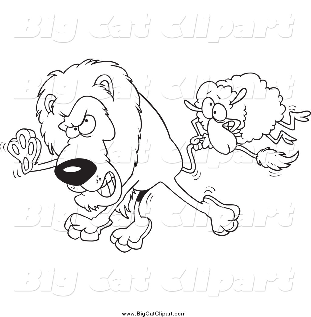 Big Cat Cartoon Vector Clipart of a Black and White Sheep ...