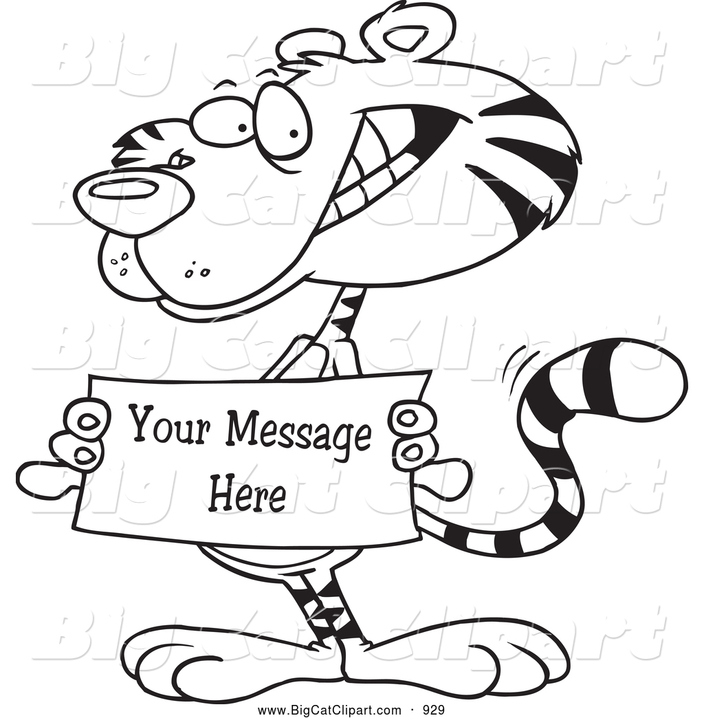 Big Cat Cartoon Vector Clipart of a Black and WHite Tiger ...