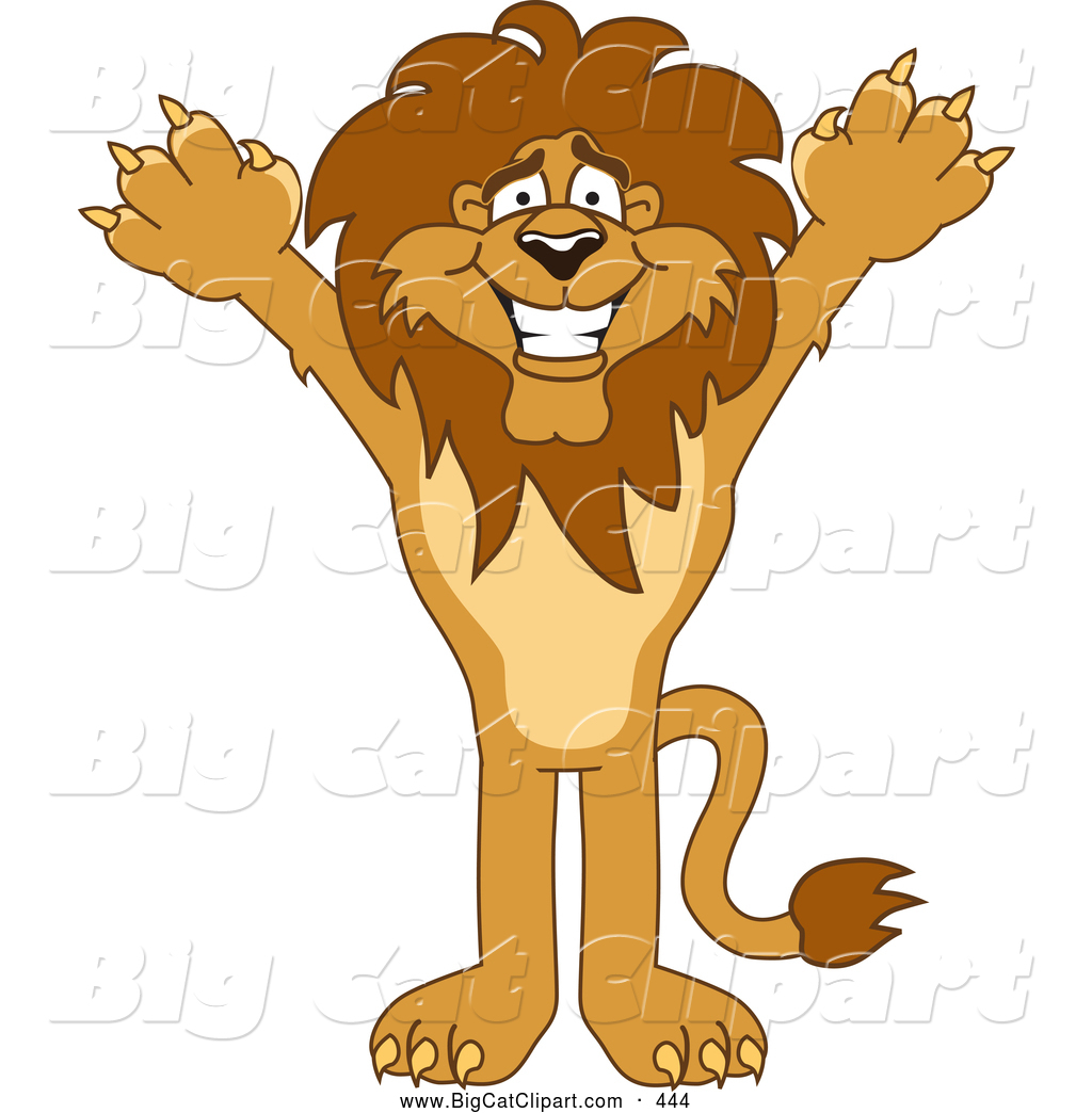 Big Cat Cartoon Vector Clipart of a Cheerful Lion Character Mascot