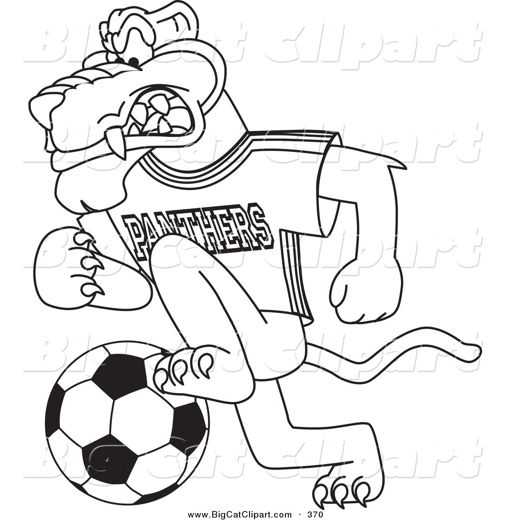 big cat cartoon vector clipart of a coloring page outline