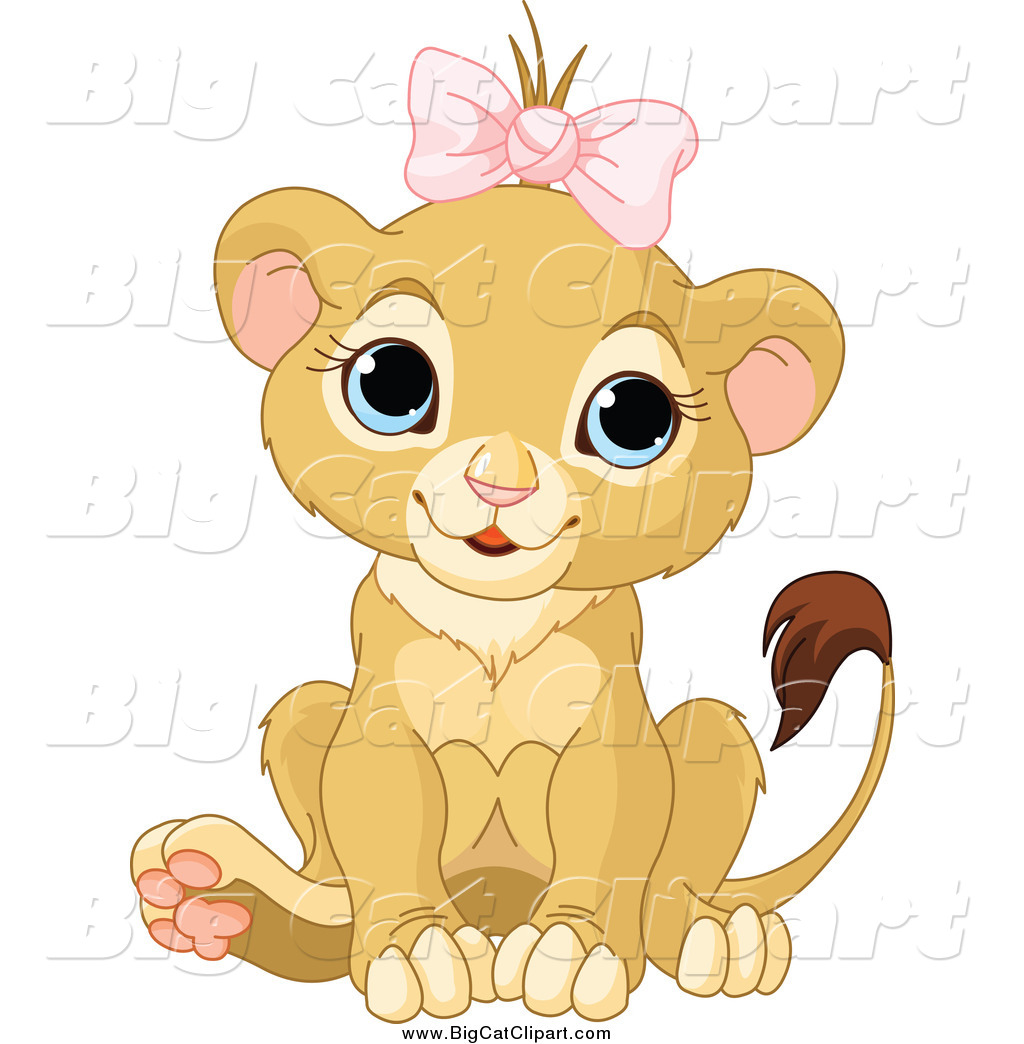 Big Cat Cartoon Vector Clipart Of A Cute Baby Female Lion Wearing A Pink Bow By Pushkin 985 A lion wearing a crown beside the castle. big cat cartoon vector clipart of a