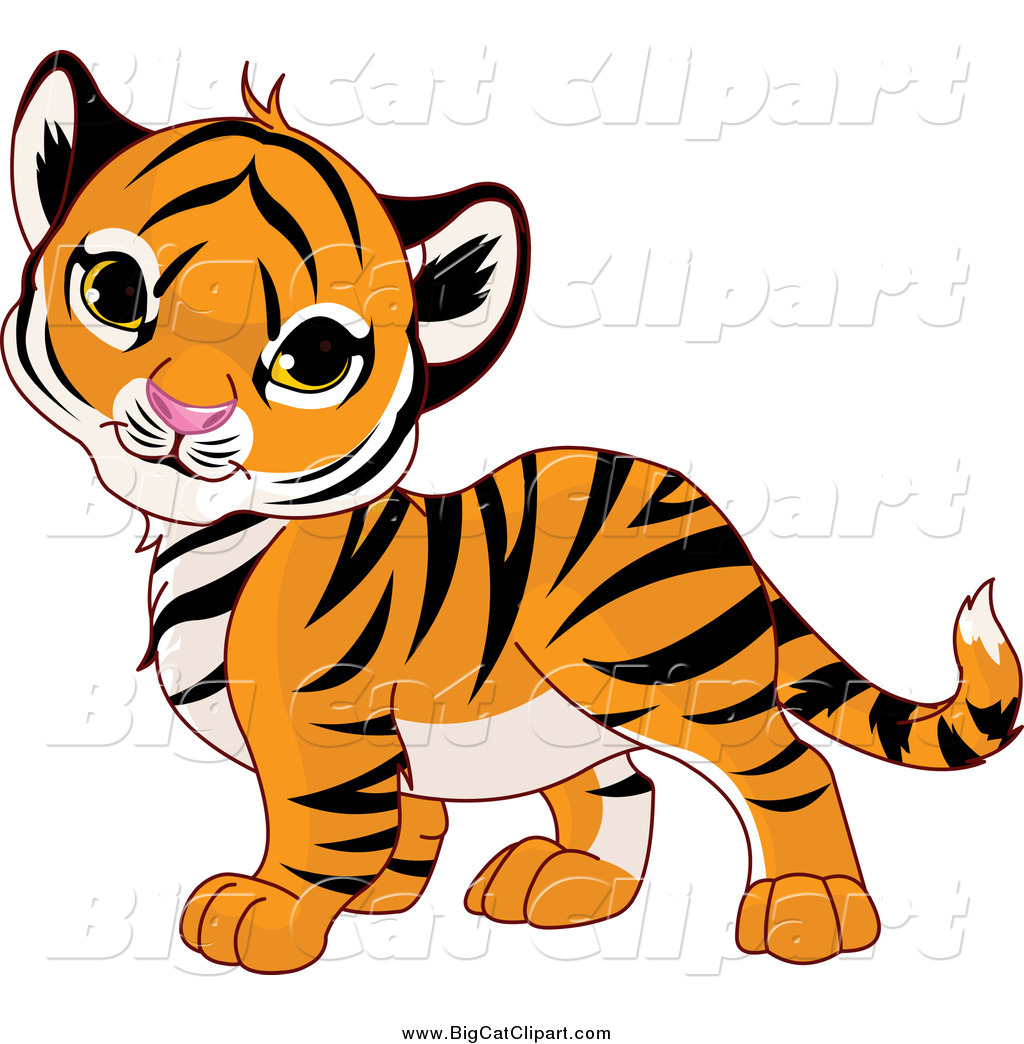 big cat cartoon vector clipart of a cute baby tiger cub tilting his rh bigcatclipart com