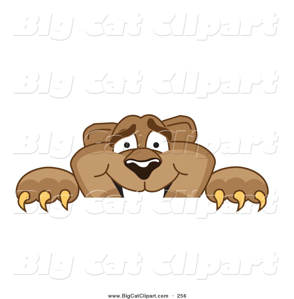 Big Cat Cartoon Vector Clipart of a Cute Cougar Mascot ...