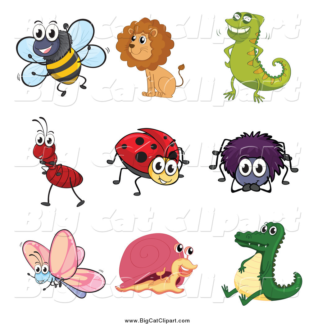 Big Cat Cartoon Vector Clipart Of A Happy Ant Lion Chameleon Bee Ladybug  Spider Butterfly Snail