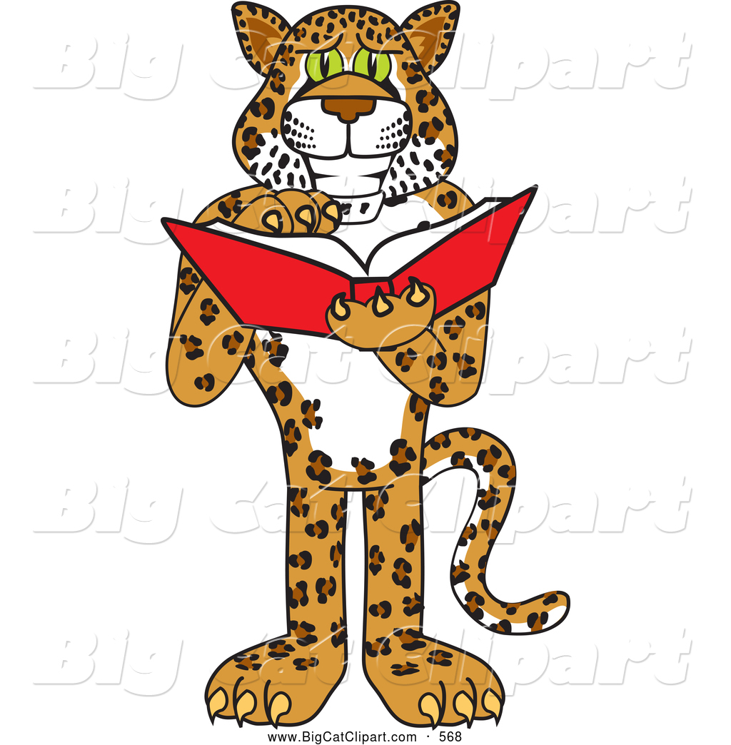 big cat cartoon vector clipart of a happy cheetah jaguar or leopard rh bigcatclipart com mustang school mascot clipart school mascot clipart bulldog