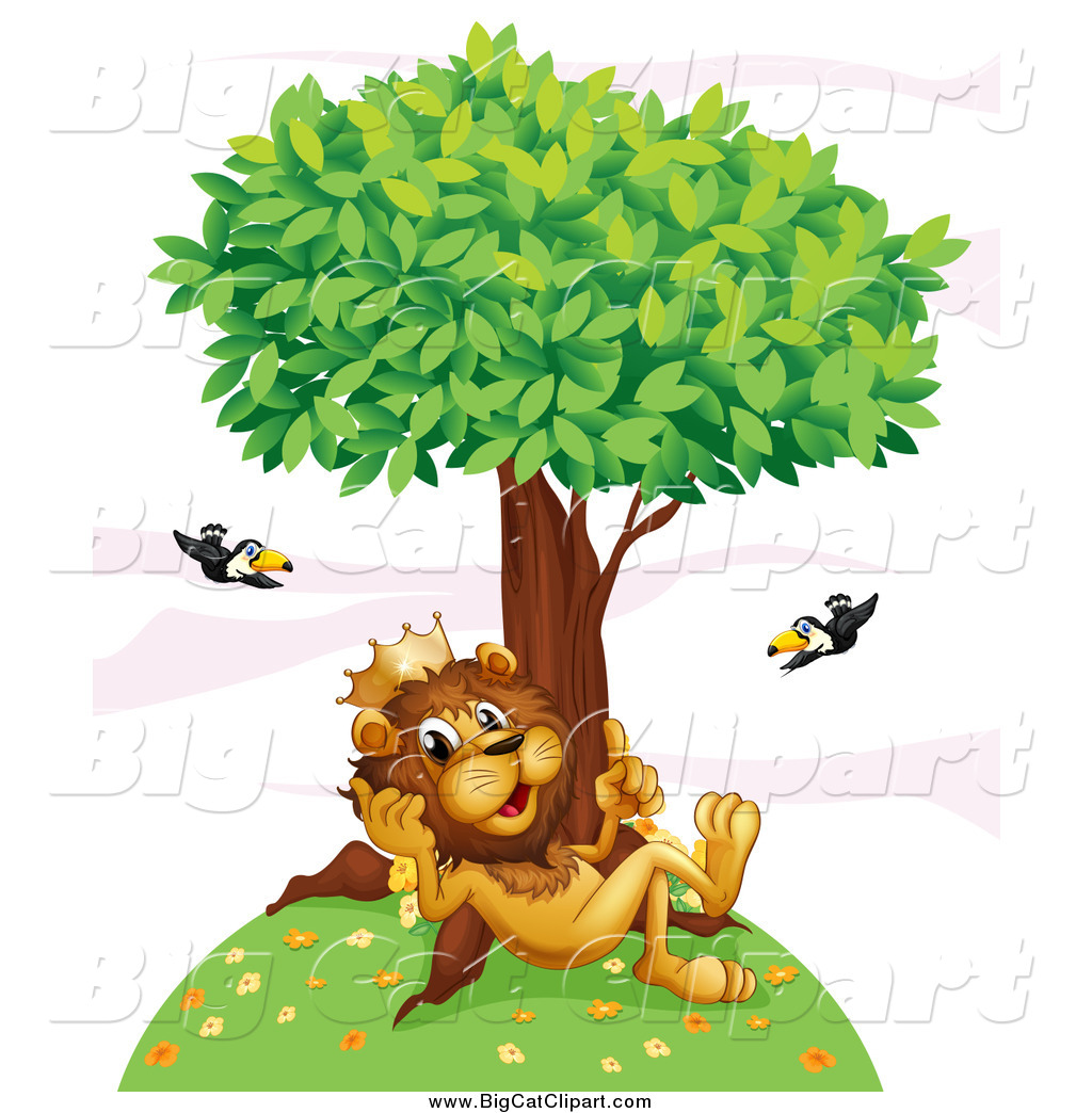 Big Cat Cartoon Vector Clipart Of A King Lion Thinking On A Hill Under A Tree With Flying Toucans By Graphics Rf 2674 He sings a parody of disney's song under the sea. big cat cartoon vector clipart of a
