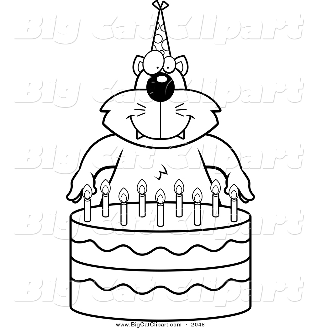 Big Cat Cartoon Vector Clipart of a Lineart Cat Making a Wish over ... for Wish Clipart Black And White  545xkb