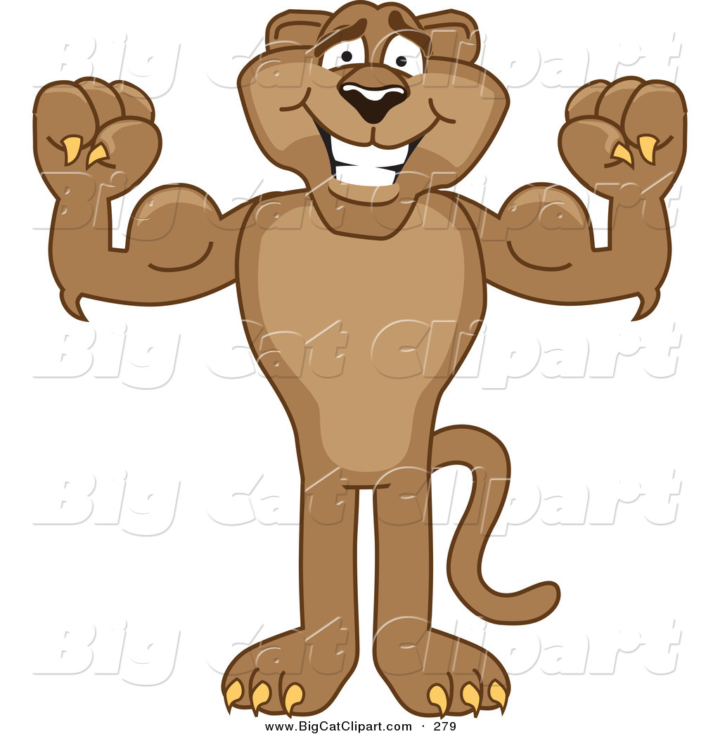 big cat cartoon vector clipart of a strong cougar mascot character rh bigcatclipart com cougar cartoon clip art cougar cartoon memes