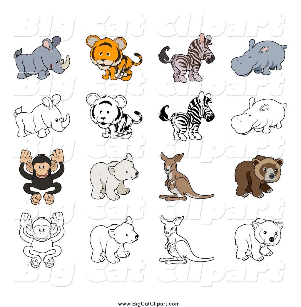 Big Cat Cartoon Vector Clipart Of A Tiger And Wild Animals In Color Black