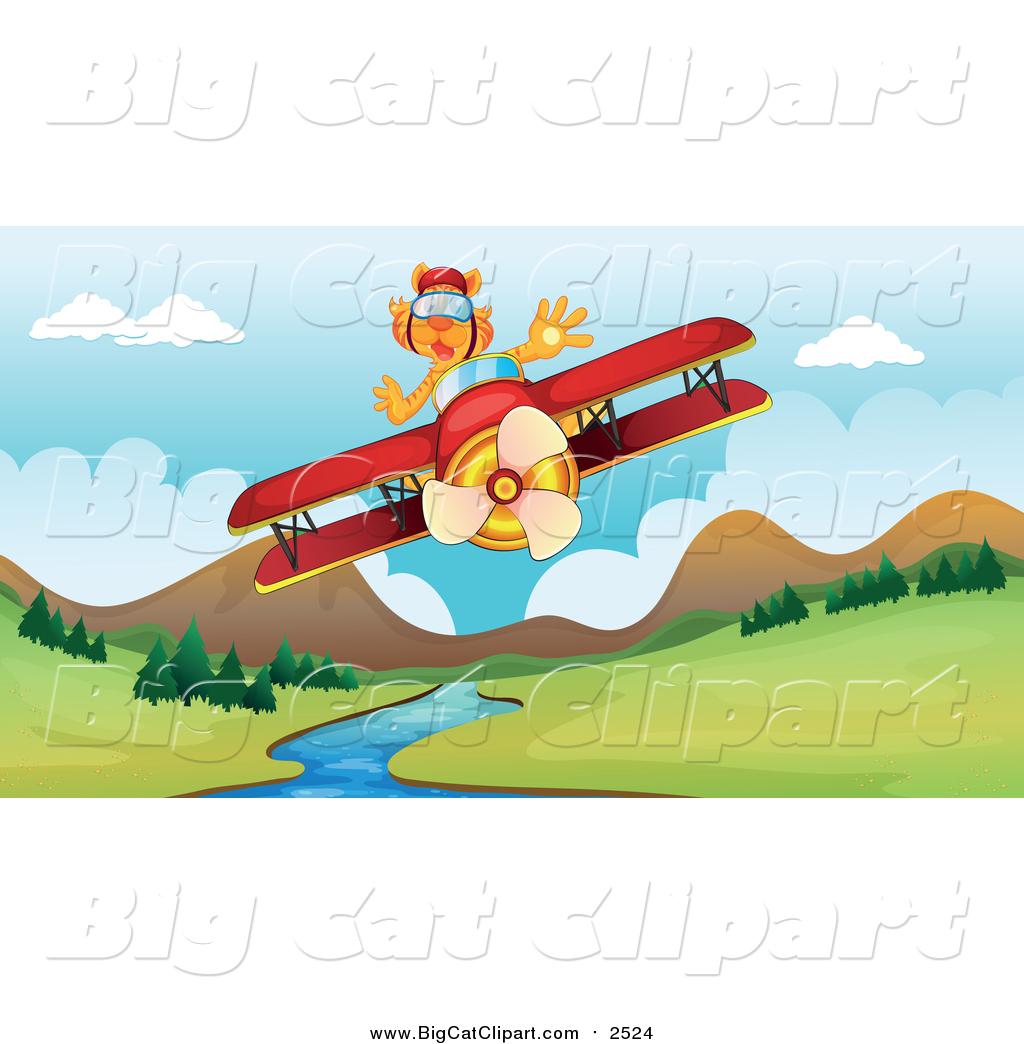 Big Cat Cartoon Vector Clipart Of A Tiger Flying A Plane Over A