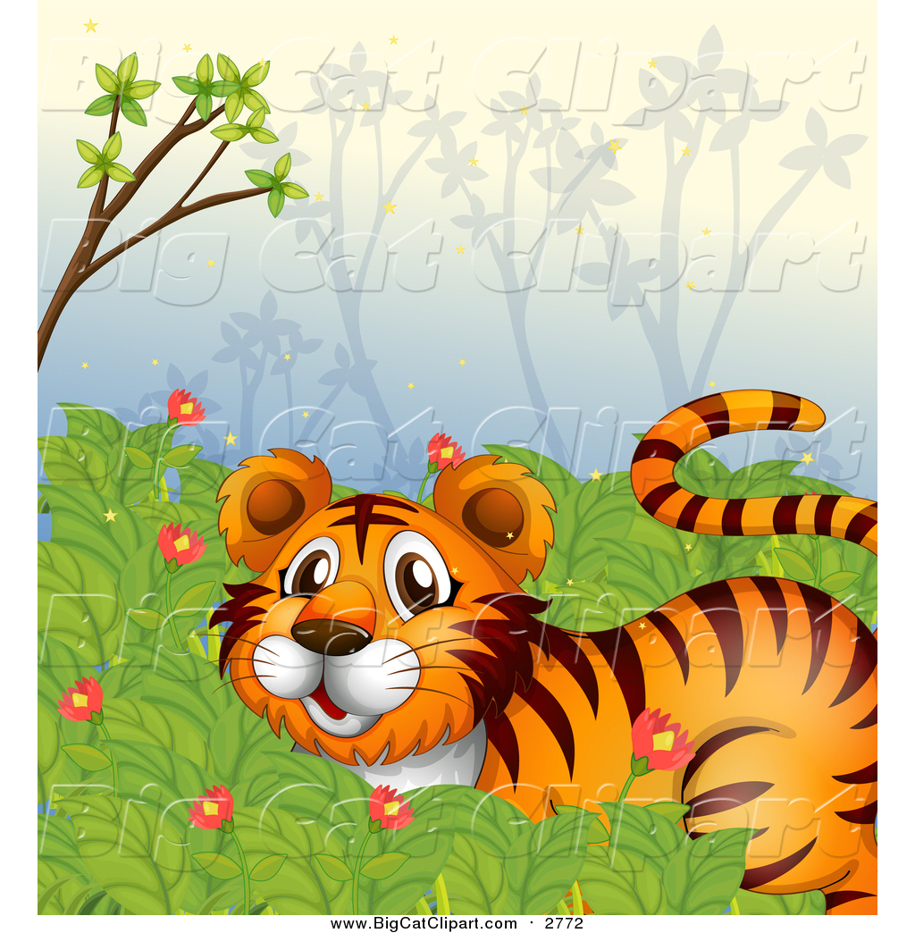 A Jungle Of Big Cat Designs: Big Cat Cartoon Vector Clipart Of A Tiger In A Jungle By