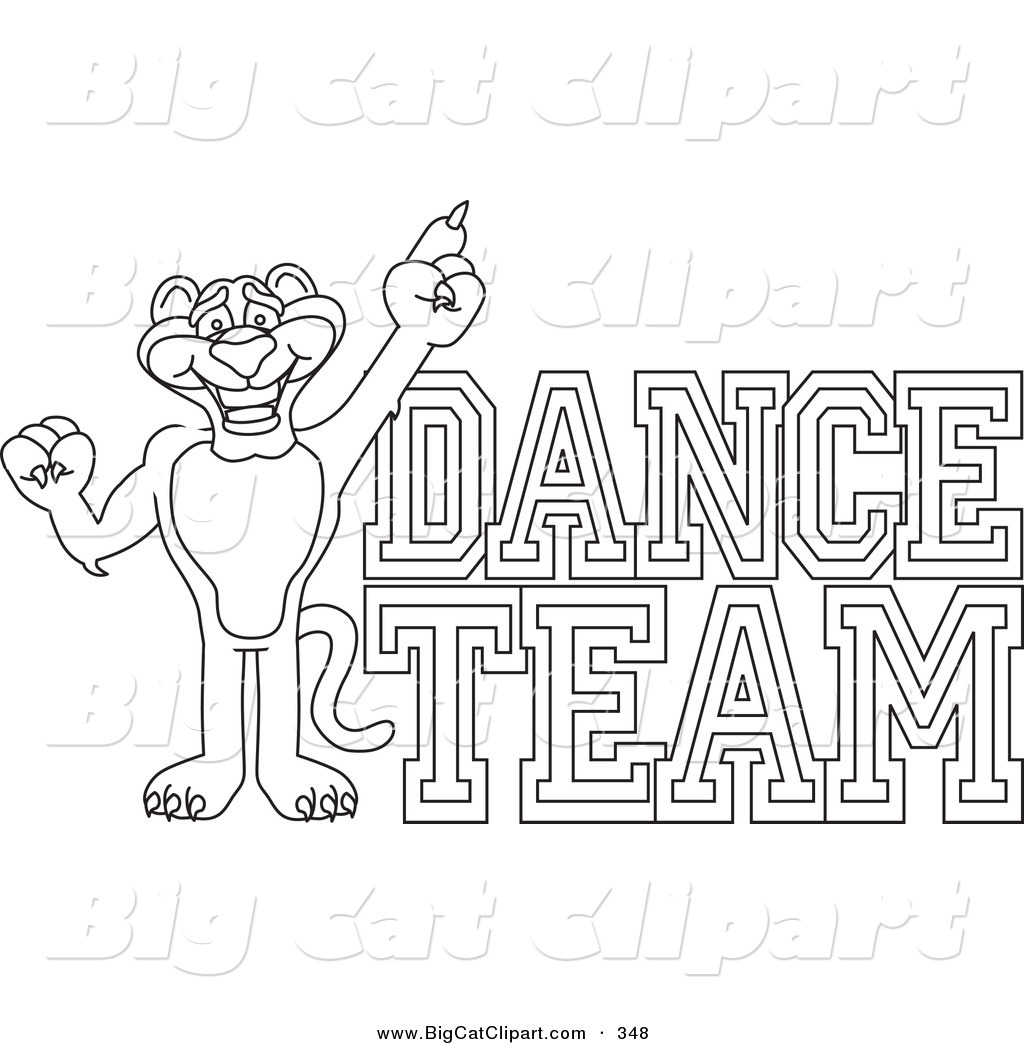 Big Cat Cartoon Vector Clipart Of An Outline Design Of A Panther Character Mascot With Dance Team Text By Toons4biz 348