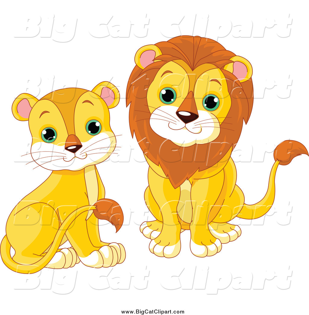 big cat cartoon vector clipart of cute sitting lions by pushkin 980 rh bigcatclipart com clipart aliens clipart lines free