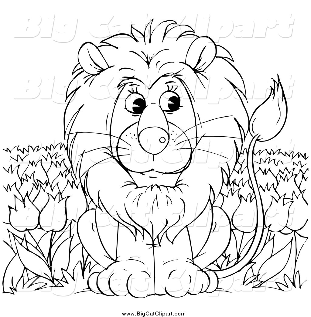 A Jungle Of Big Cat Designs: Big Cat Clipart Of A Black And White Lion Sitting In A