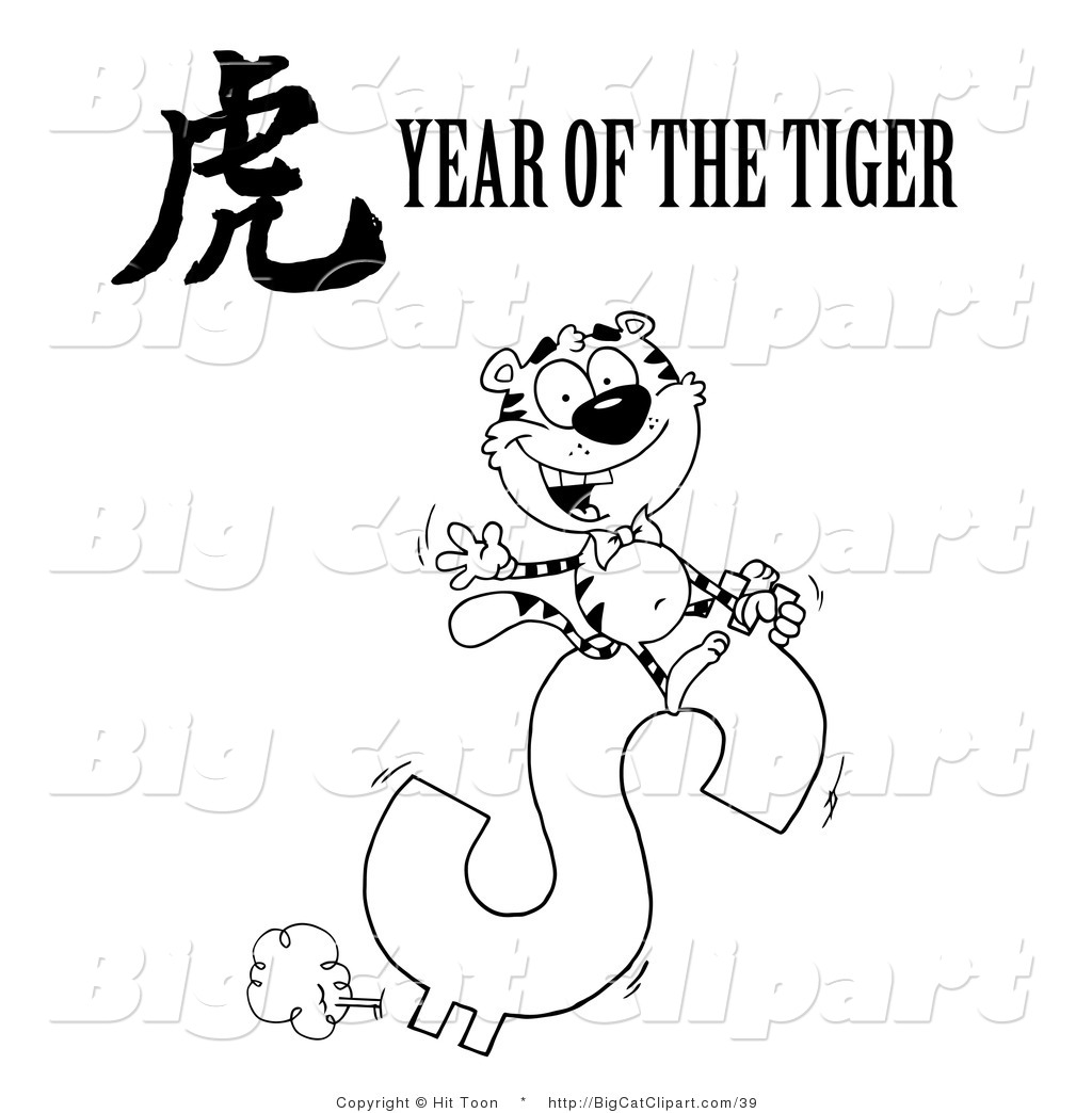 Big Cat Clipart Of A Coloring Page Of A Wealthy Tiger Riding A
