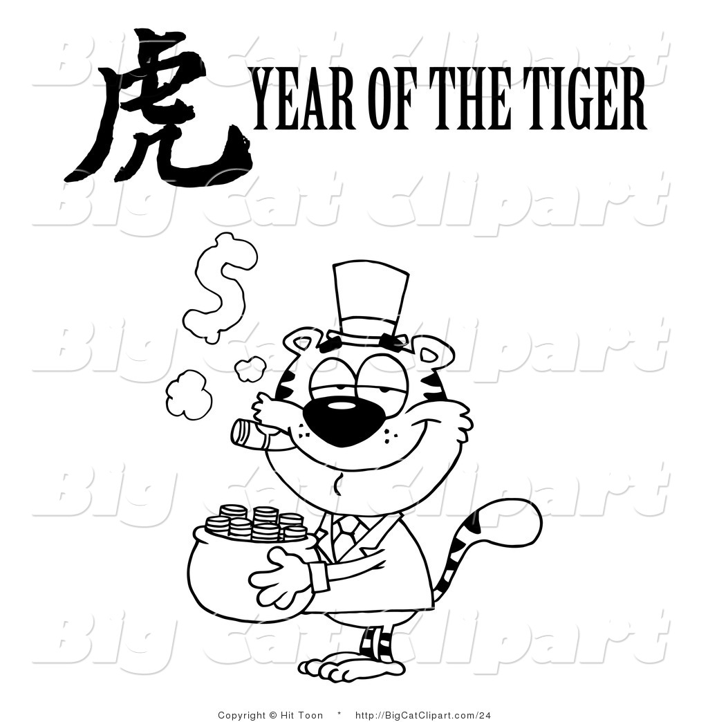 Big Cat Clipart Of An Outlined Wealthy Tiger Holding A Pot Of Gold