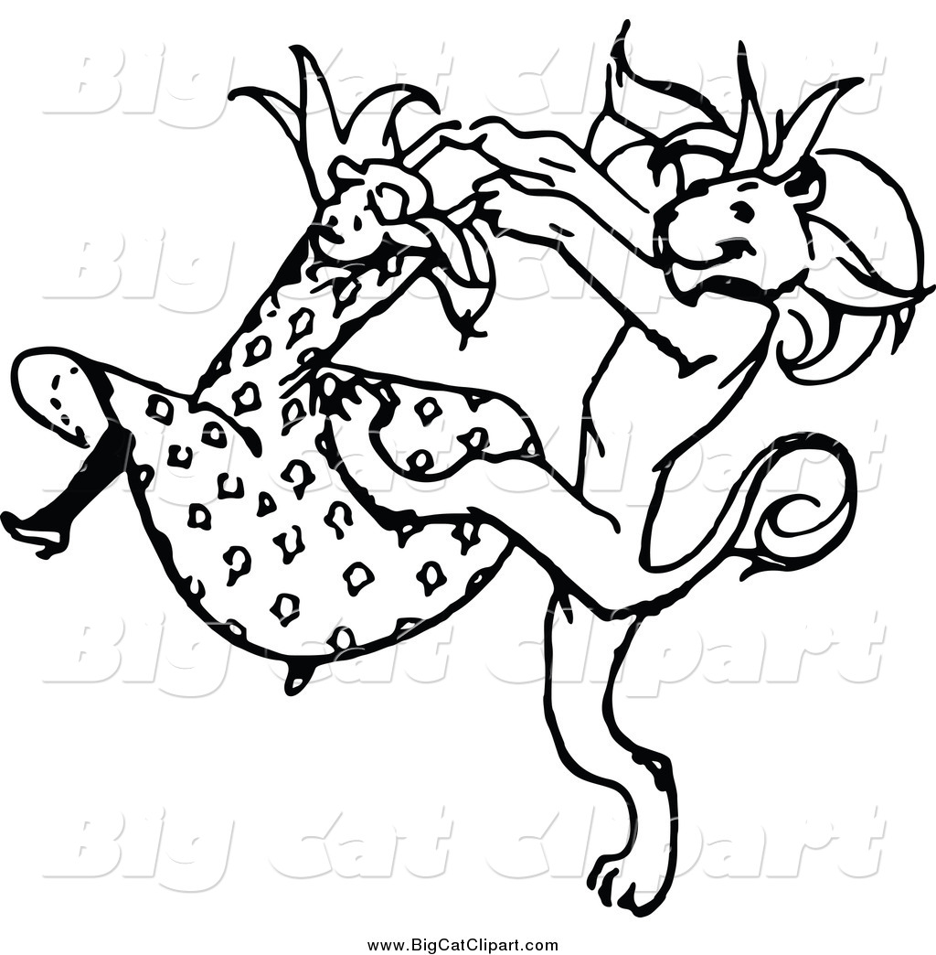 Big Cat Vector Clipart Of A Black And White Dancing Girl -7375