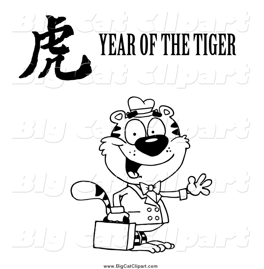 Big Cat Vector Clipart Of A Black And White Friendly Business Tiger