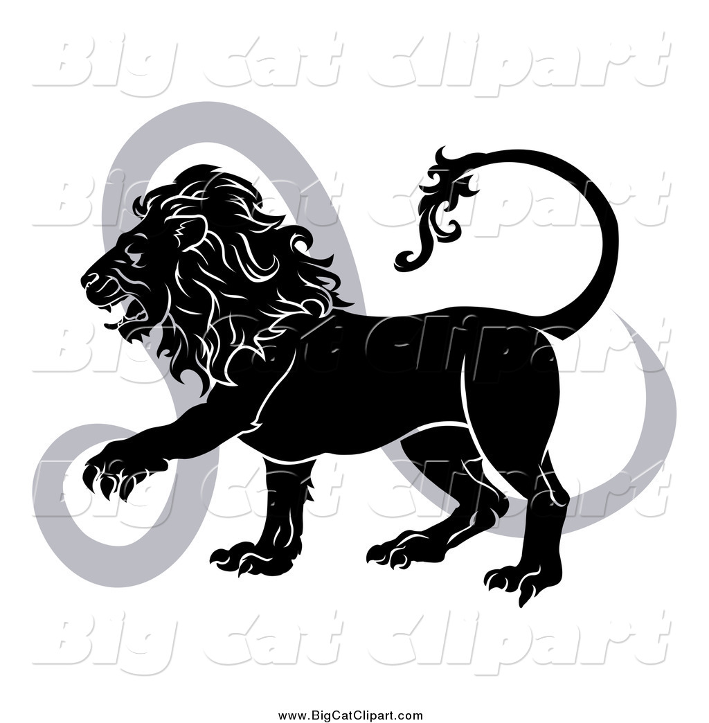 Big Cat Vector Clipart Of A Black And White Leo Lion And Symbol By